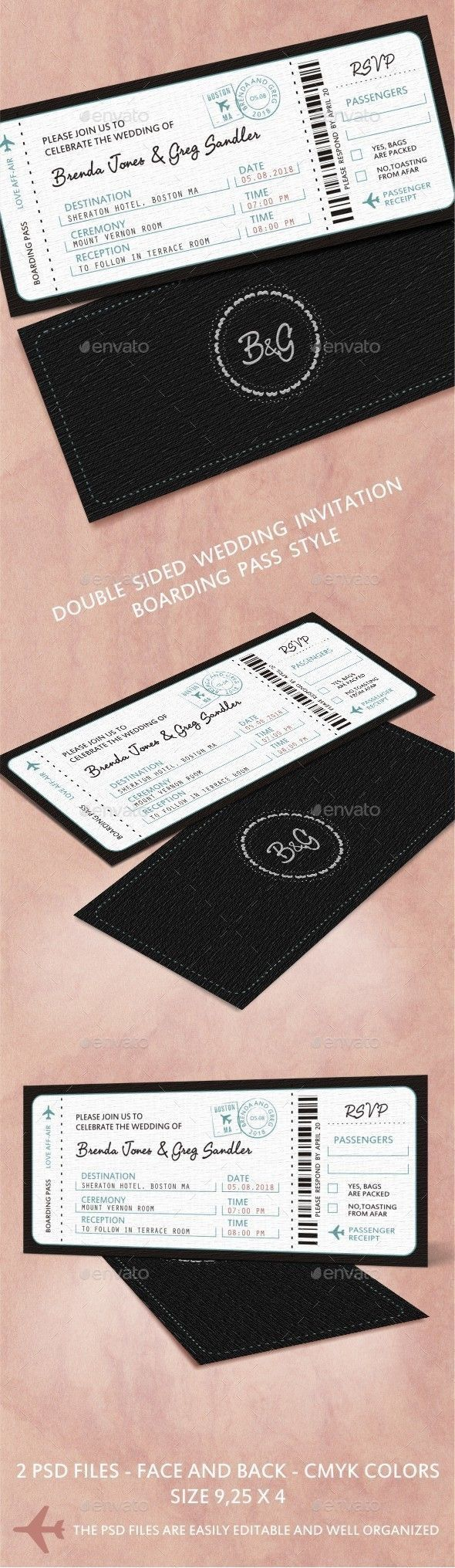 movie ticket stub wedding invitation%0A Buy Wedding Invitation by Spyborg on GraphicRiver  Wedding Invitation in  Boarding Pass style    PSD files  u     Face and Back in CMYC colors