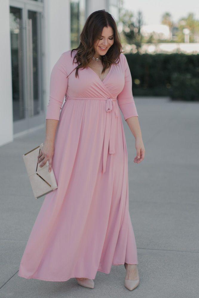 Pink Draped 3/4 Sleeve Plus Maxi Dress in 2019 | Pinkblush | Pink ...