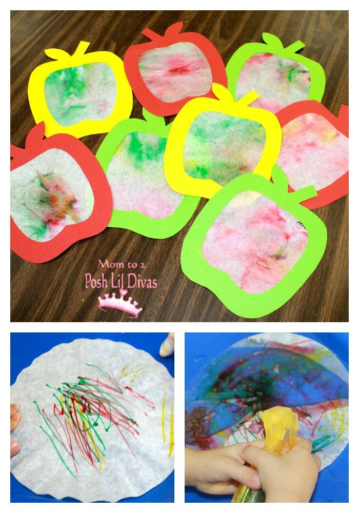 Coffee Filter Apple Art     The kids really enjoyed our coffee filter apple art…