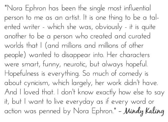 best nora ephron essays More than a year after her death, nora ephron — beloved reporter, screenwriter,   writers who were just starting out, and of how good she was to him in all ways   in her 1972 essay, a few words about breasts, she writes,.