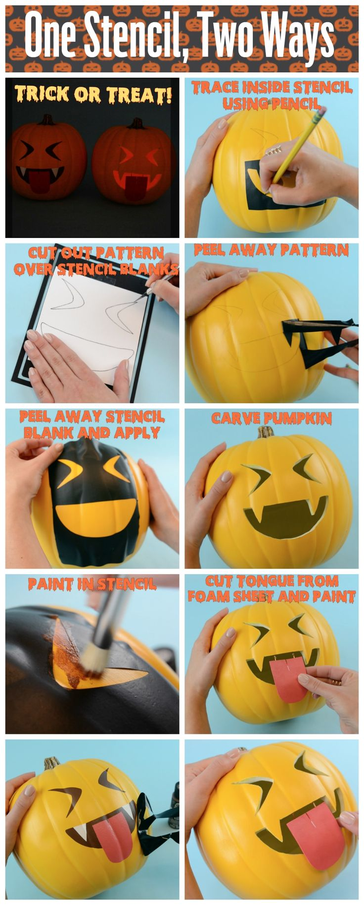 DIY Vampire Emoji Pumpkin: Use a stencil TWO different ways to create a cute and kid-friendly no carve pumpkin OR a spooky jack-o-lantern. Download free printable templates to get you started!
