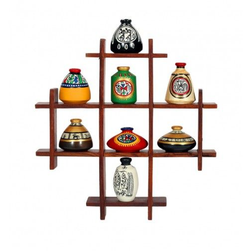 Decoration Stand with Eight Elegant Warli Pots