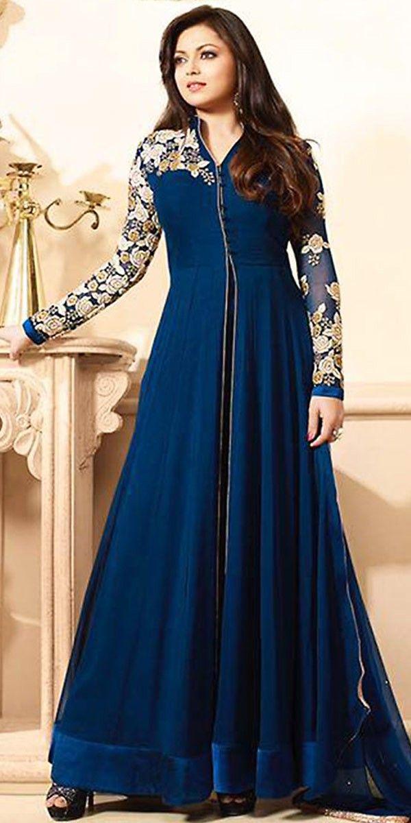 Madhubala Georgette Blue Anarkali Suit With Dupatta.