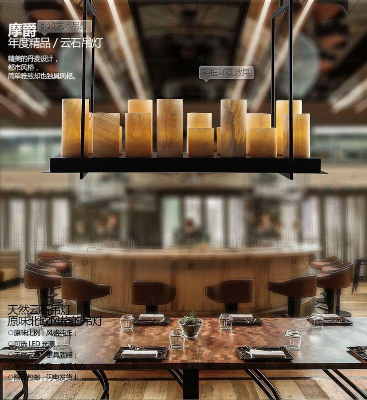 Урожай Американская промышленная люстра Железный люстра прямоугольный мраморный ресторан кофе…
