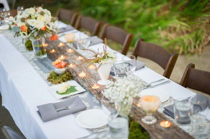 Barn Wood Table Runner. Neat!! Thanksgiving Outside! | Tablescapes |  Pinterest | Wood Table, Botanical Wedding And Reception