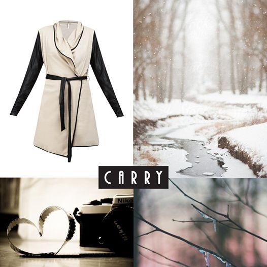 Sweter w delikatnym odcieniu beżu, w połączeniu z kontrastowymi czarnymi rękawami dzięki swojej długości komponuje się idealnie z sukienką jak i dopasowanymi rurkami. #autumn #outfit #fashion
