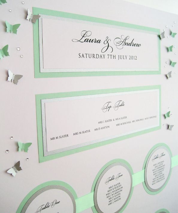 Butterfly Carnival Table Plan in white green and silver with 3D butterflies.