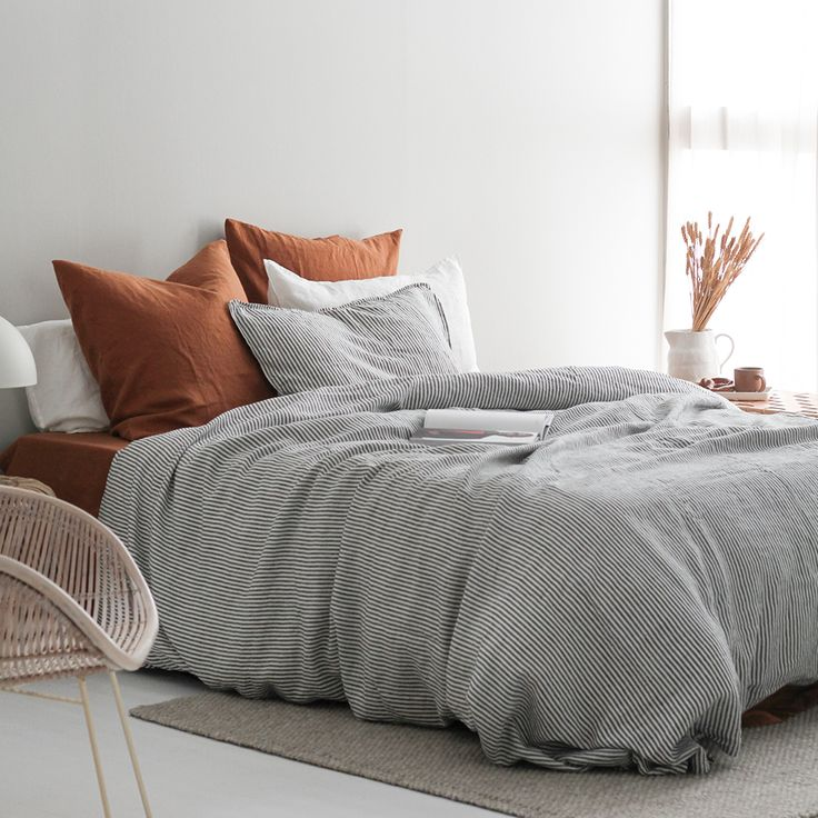 Ac flax linen duvet cover charcoal stripe in 2020
