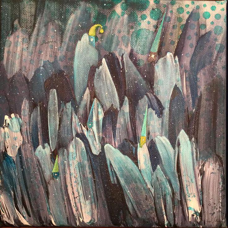 Carbonville - 20x20cm #annasagok #annabies #art #painting #mixedmedia