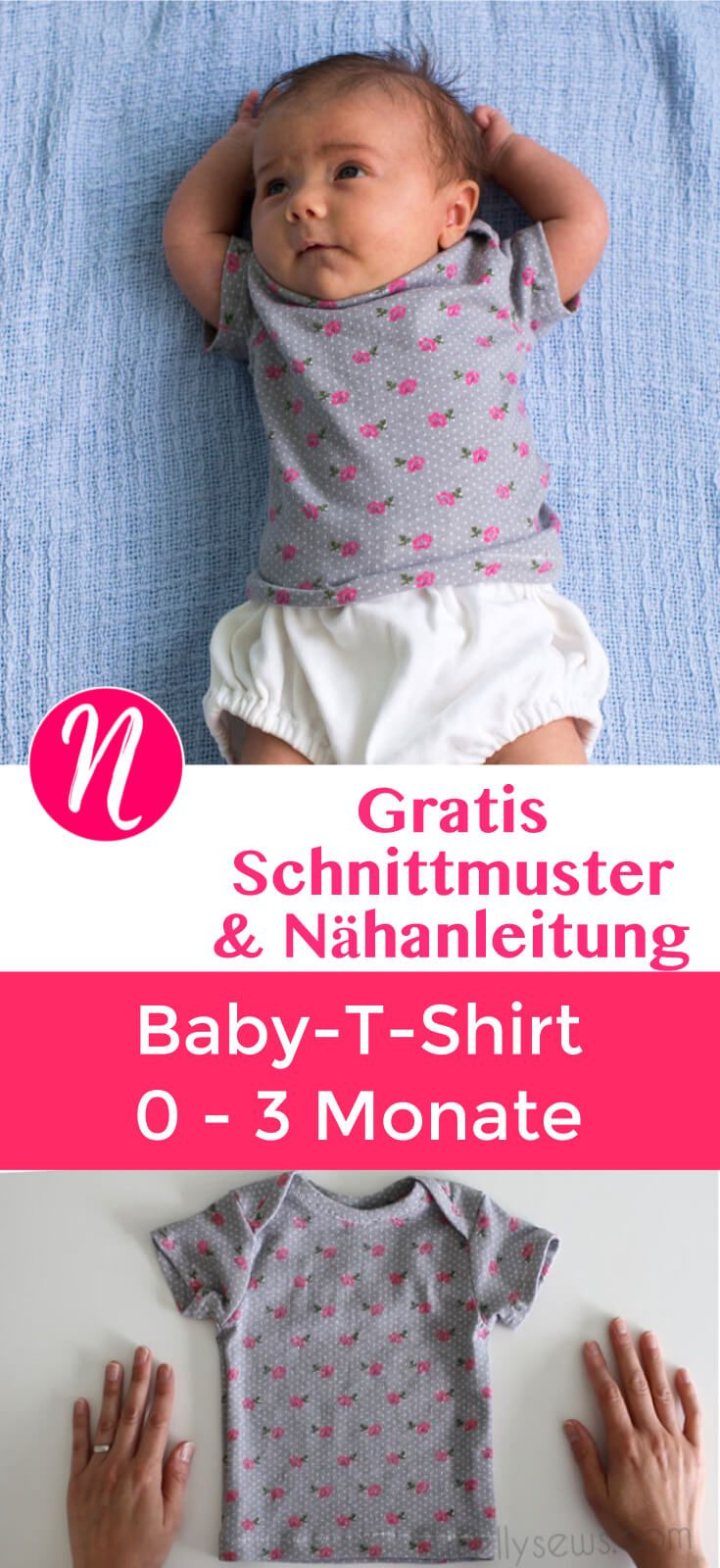 Kostenloses Schnittmuster Baby-T-Shirt ❤ mit Anleitung ❤ PDF Freebook zum Ausdrucken ❤ ✂ Nähtalente - Magazin für kostenlose Schnittmuster ✂ Free PDF Sewing Pattern for a Baby-T-Shirt for 0 - 3 month. Nice and easy to sew with photo-tutorial.