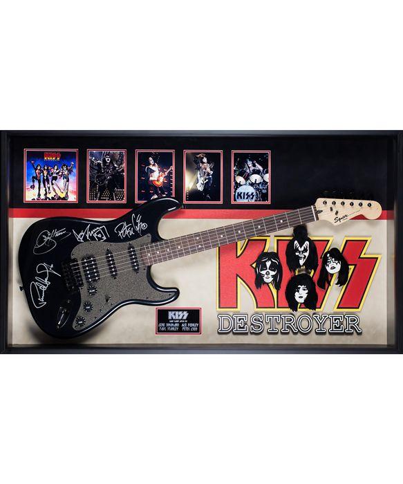 KISS Original Band Autographed Destroyer Signed Guitar in Framed Case COA