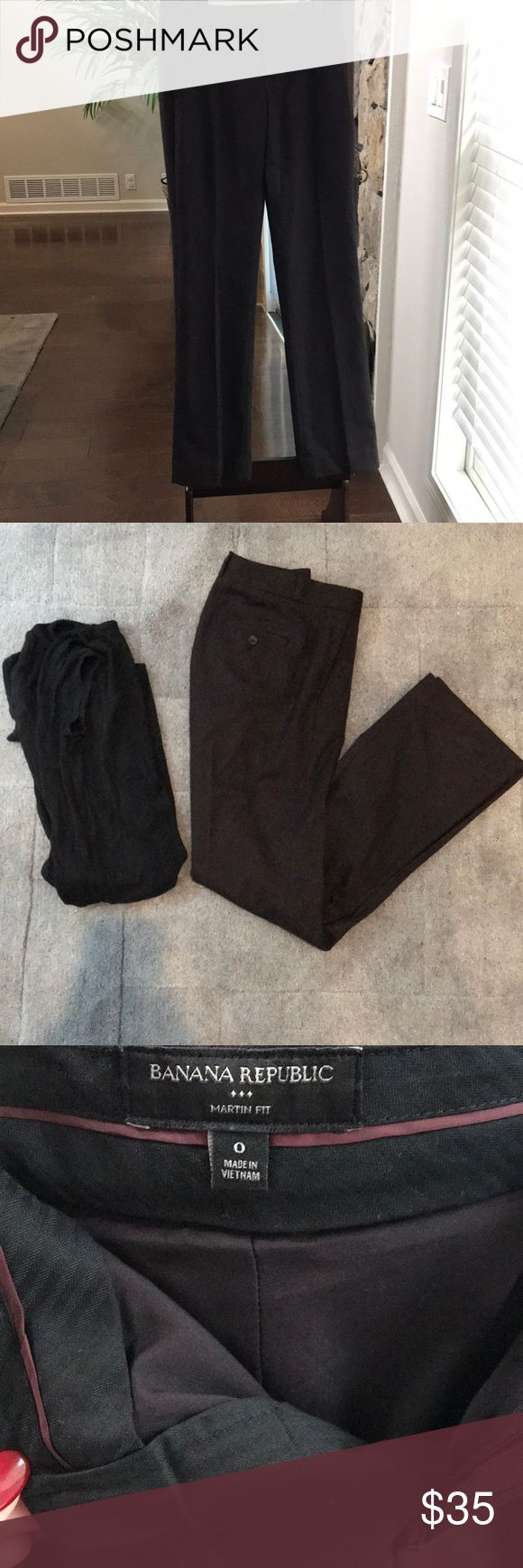 Banana Republic Martin Fit Straight Leg Pant Deep brown/aubergine color. Picture with light color is posted to show cut and fit. Only worn 1 time. Great Condition. Drycleaned. Lined. Moving soon, make me an offer! Included a pic of the pants next to a black dress for color comparison. Banana Republic Pants Straight Leg