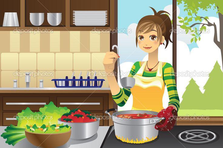 Ella cocina la cena con verduras,varios alimentos que pone en las ollas y usas un cucharòn.