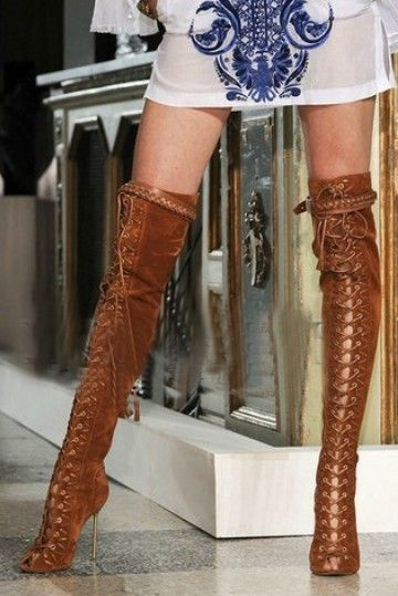 Women Boots High Heels Shoes Woman Botas Femininas Western Style Women Pumps Shoelace Boots Women Over The Knee Boots New 2014(China (Mainland))