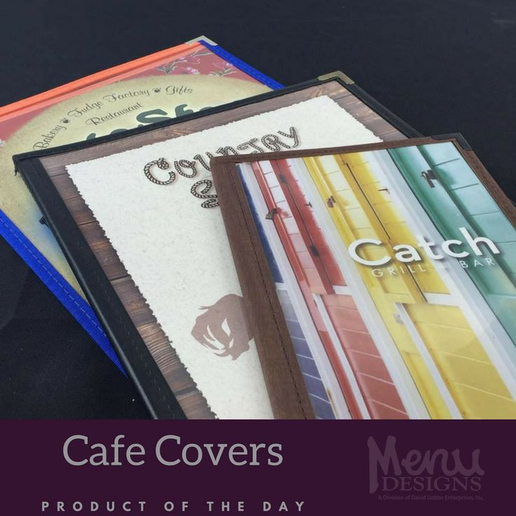 Durable, lightweight, and easy to clean, our Café covers are built to last. Features include supported vinyl trim that is double turned and single stitched along with specially formulated clear vinyl pockets for durability. #cafe #menucovers #menudesigns #productoftheday #pickoftheday