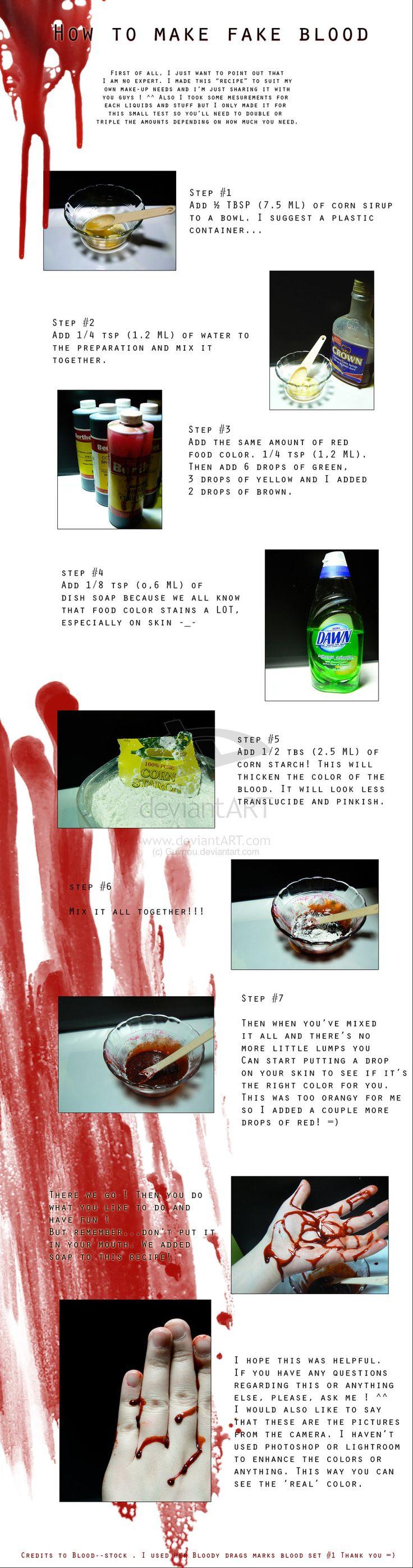 Fake blood --- Tutorial by ~Guirnou on deviantART