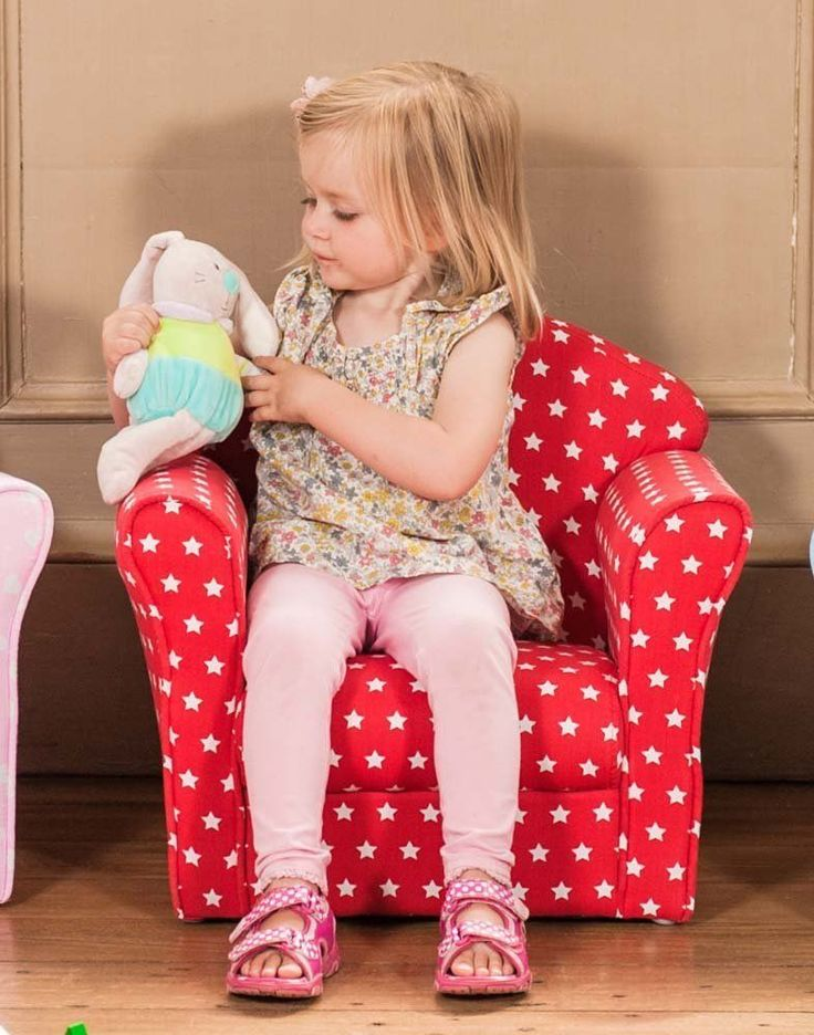 KIDS ARMCHAIR Seat Sofa Lounger Arm Chair Red Bedroom Child Toddler Childrens