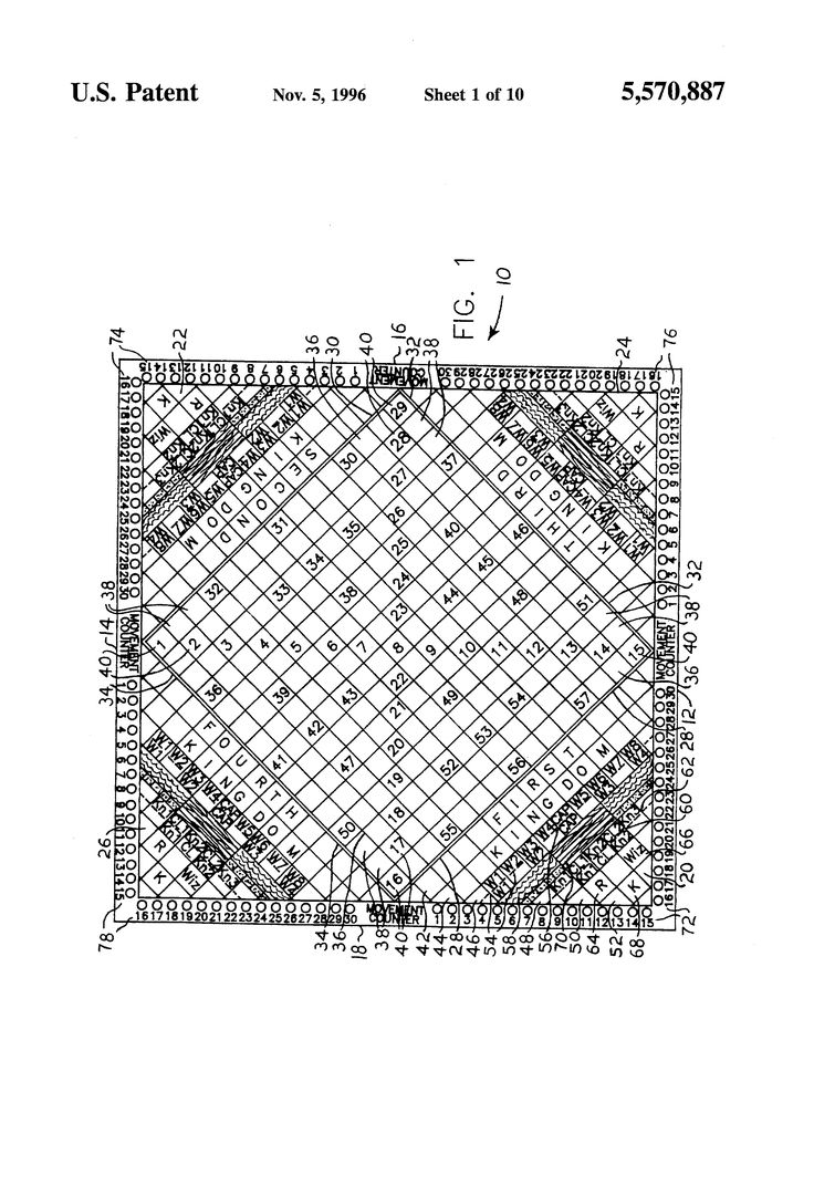 Patent US5570887 - Apparatus and method of playing a medieval military conflict board game for two to four players