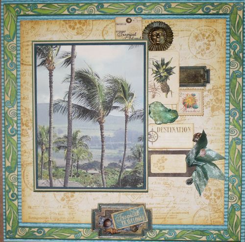 This layout by @Nancy Wethington will whisk you to a tropical land! #graphic45 #layouts #tropicaltravelogue