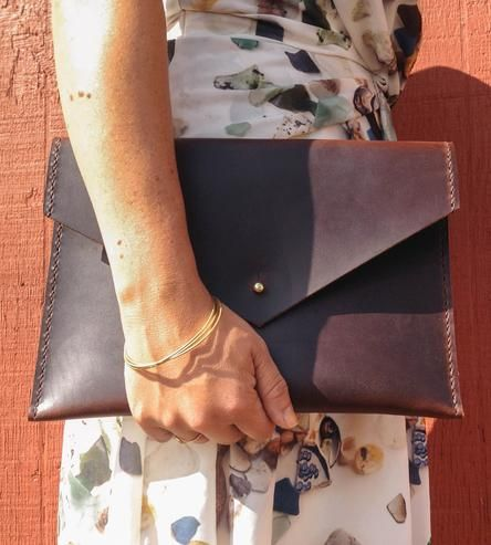 Marika Brown Leather Envelope Clutch | Perfect for an Ipad or E-reader