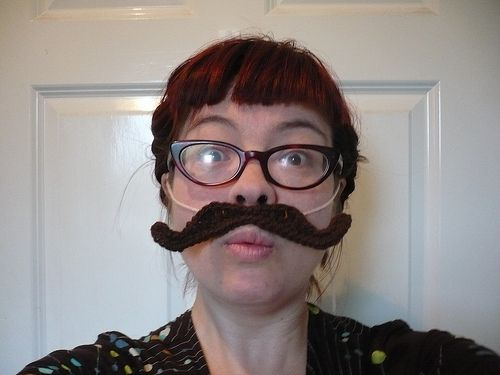 "My favorite crochet mustache pattern. If I'm attaching it to a beard, I crochet one. If I'm making it ""free-standing"", I make two and stitch them together."