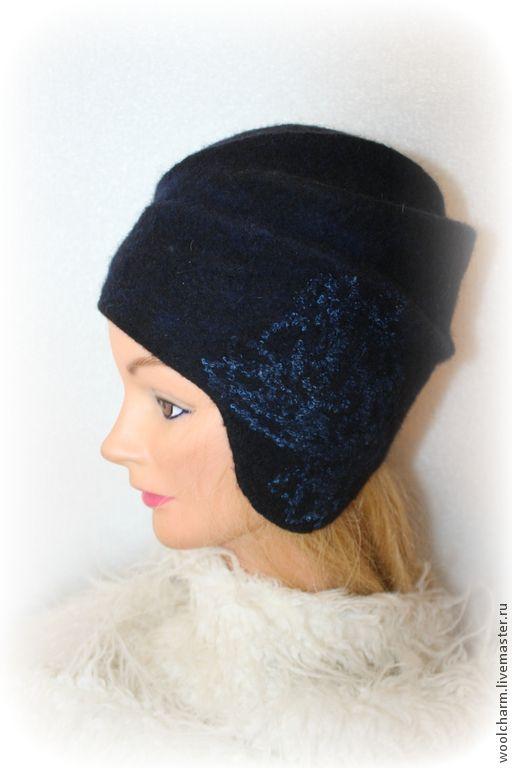Купить Шляпка с ушками валяная Синий бархат лунной ночи - тёмно-синий, черный