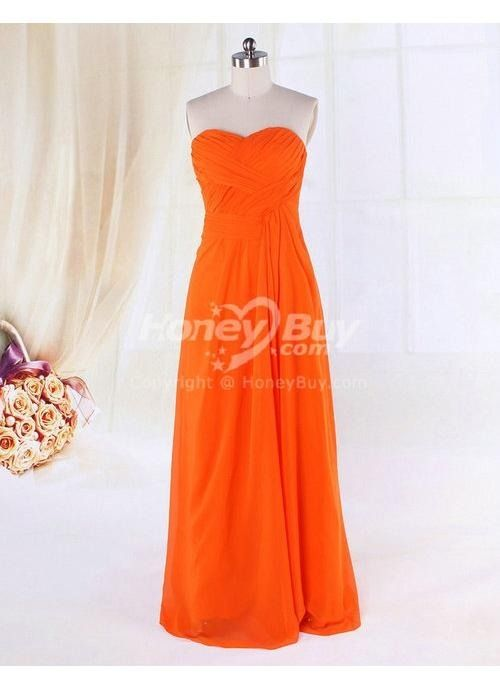 edc921187093 Strapless Sweetheart Floor Length Chiffon Orange Bridesmaid Dress ...