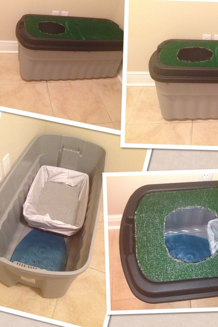 After finding some ideas and a trip to Home Depot here is what my awesome husband created as our new litter box to help decrease the litter from being tracked everywhere in our house!