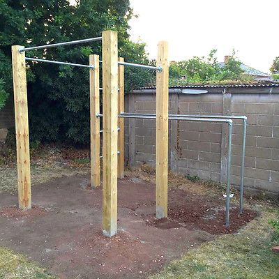 Outdoor gym dip bar and street workout on pinterest for Homemade pull up bar galvanized pipe