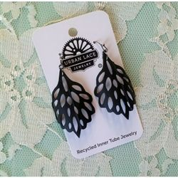 Urban Lace Polaris Earrings $20  #recycled bicycle inner tube