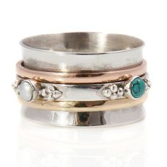 Rajput Turquoise and Pearl Silver Spinning Ring by Charlotte's Web | Charlotte's Web
