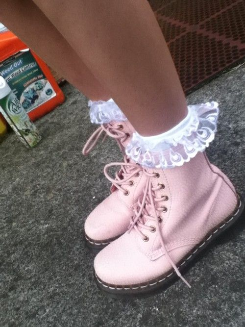 Pink Doc Martins with Ruffle Socks