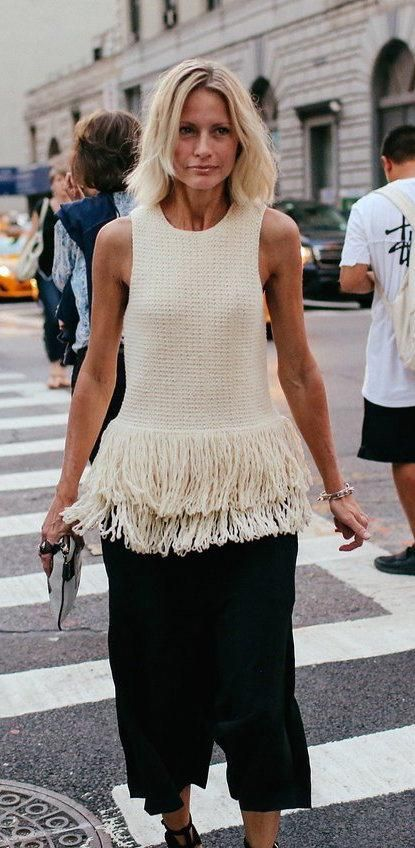 Holli Rogers in a Céline fringe top
