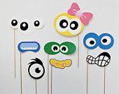 Monstruo Photo Booth apoyos. Monstruo tonto cumpleaños Photobooth apoyos.