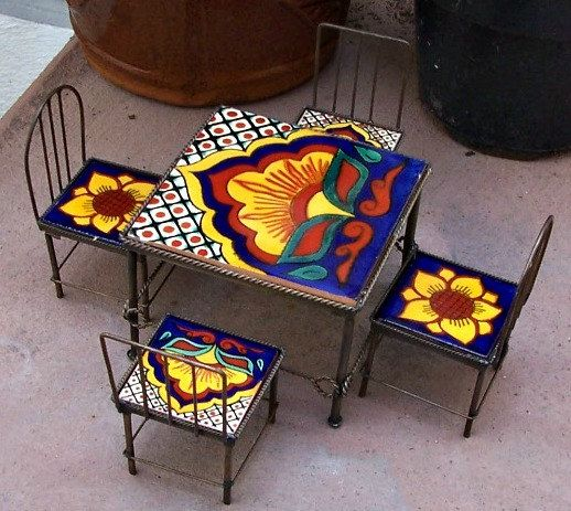 Set Of Miniature Furniture Table 4 Chairs Handmade By Mexican With Metal Work And Talavera Tiles Home Decor Gift