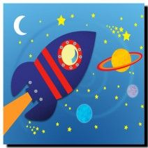 Space Rocket, Blue  on canvas.  Price: $25  Ships worldwide from http://www.thecanvasartfactory.com.au  #blue #children #art #canvas