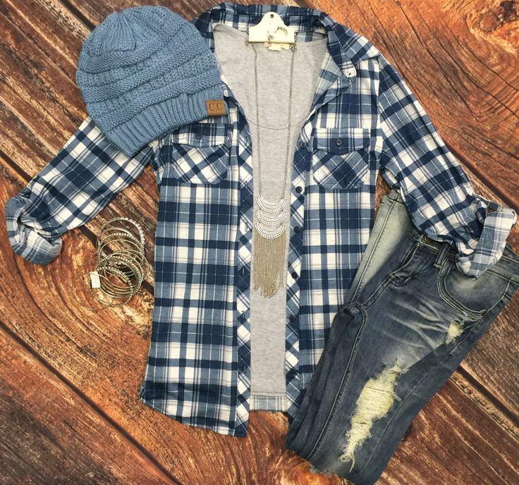 Penny Plaid Flannel Top: Blue/Grey