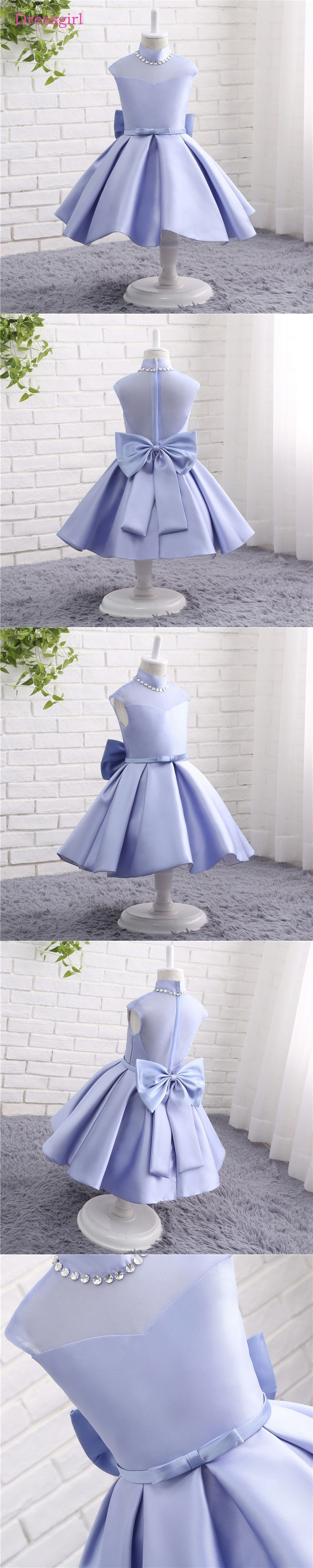 New 2018 Flower Girl Dresses For Weddings A-line Long Sleeves Satin Lace First Communion Dresses For Little Girls