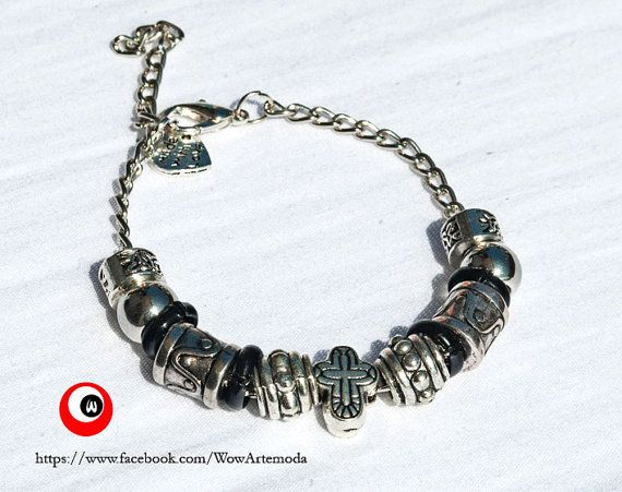 European Style Bracelet Unisex Pandora with silver tone spacer beads, very nice carved cross. Nichel Free - WoWartemoda