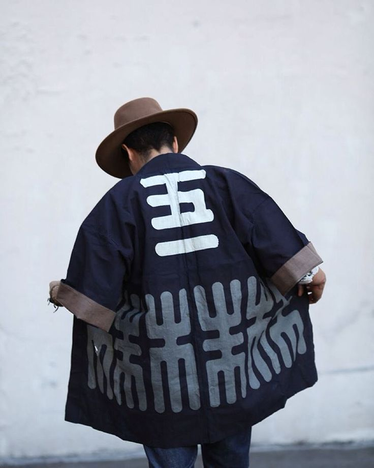 """Vintage Happi Jackets. Traditionally used during festivals to group together families or organizations, they also make a great lightweight jacket. With a different crest and kanji, each jacket is unique. This particular deep indigo happi jacket is for the Kamiya Company, and reads """"5-1"""" on the back. Available at kirikomade.com now for $159 under VINTAGE->HAPPI & KENDO.  #kirikomade #madeinjapan #japaneseindigo #indigo #vintageclothing #happi#はっぴ"""