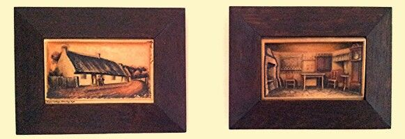 Antique wax relief pictures with oak frames.