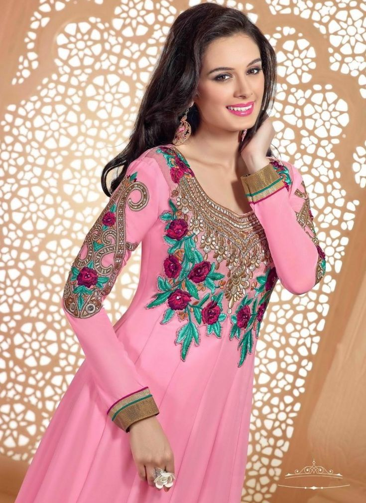 Evelyn Sharma Pink Emroidered Suit