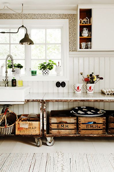 #crate • #casters • #storage • 'Rustic Rollers via Lonny'
