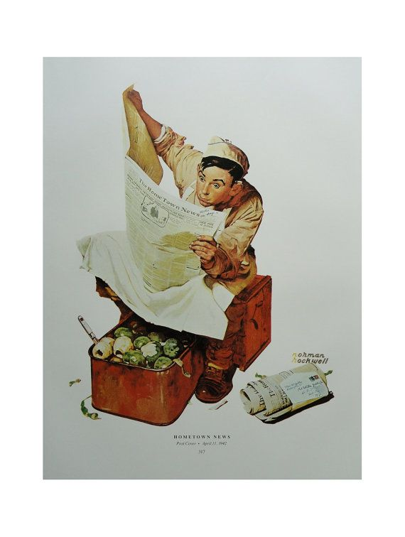 Hometown News Soldier Army Cook, Blackout Theater, Norman Rockwell Poster, Post Magazine Cover