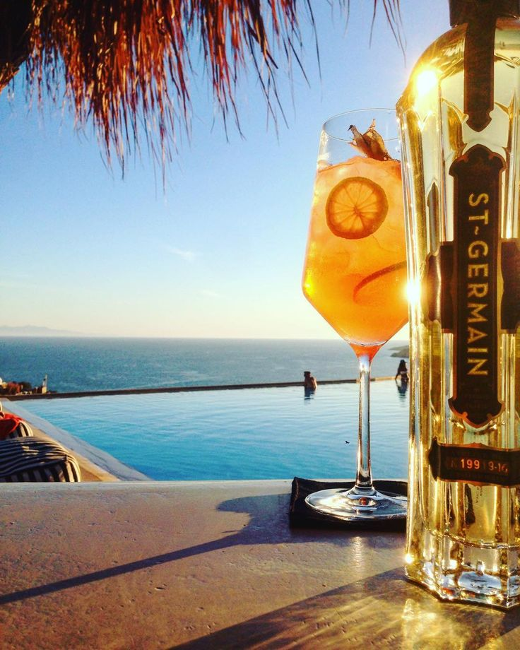 Enjoy a refreshing cocktail with St. Germain by the pool!