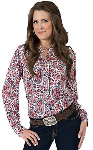 Rock 47 by Wrangler Women's Pink Blue Floral Paisley Print Long Sleeve Western Shirt | Cavender's