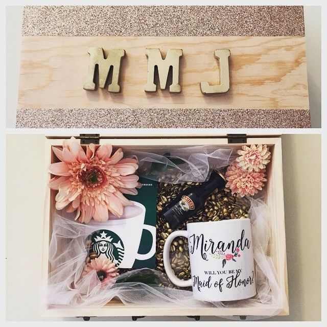 Bridesmaid Box. Etsy mug, Starbucks gift card, Baileys Irish cream, flowers and gold coffee beans