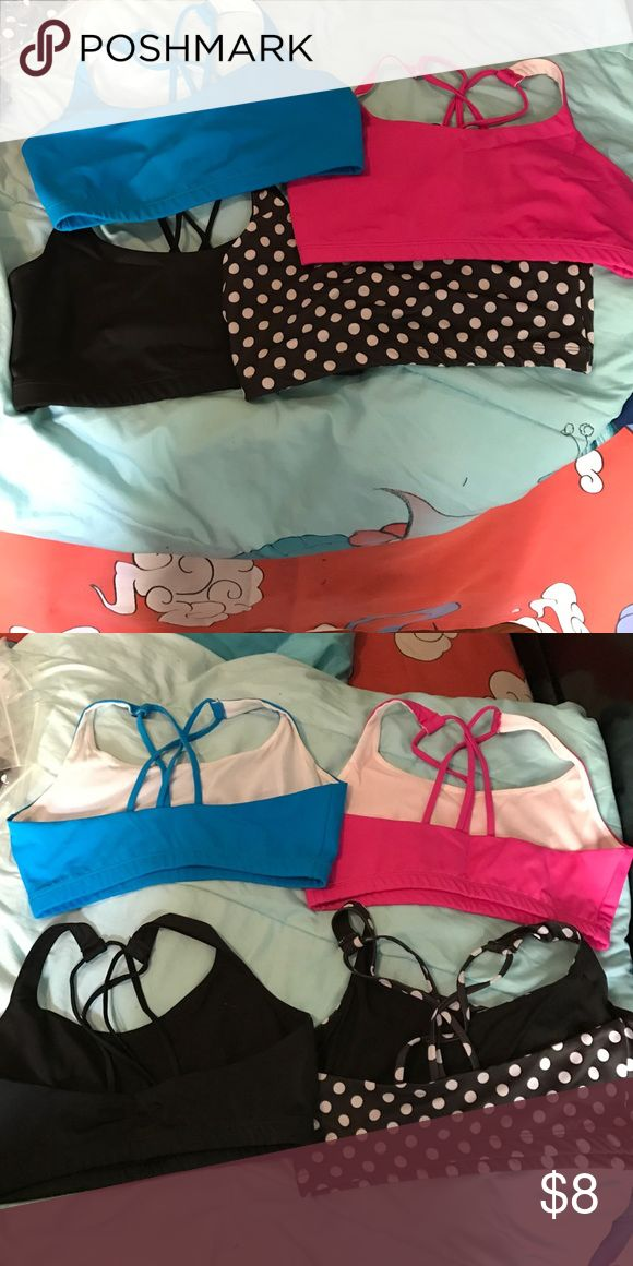 Comfy sports bras - set of 4 Perfect for yoga, swimming, or just everyday wear! What you get: 4 pairs of sports bra (black, polka dot, turquoise and pink) Swim