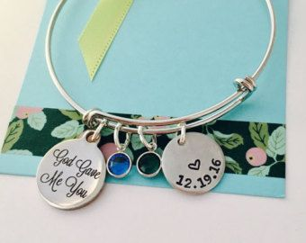 God Gave Me You, Personalized Mothers Bracelet, Gift for Wife, Religious Jewelry, Adjustable Bangle Bracelet,
