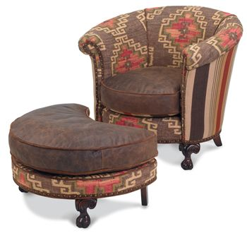 Homesteader Chair & Ottoman Rug-pattern woven upholstery, aged leather, nail head trim $3,930 (set)